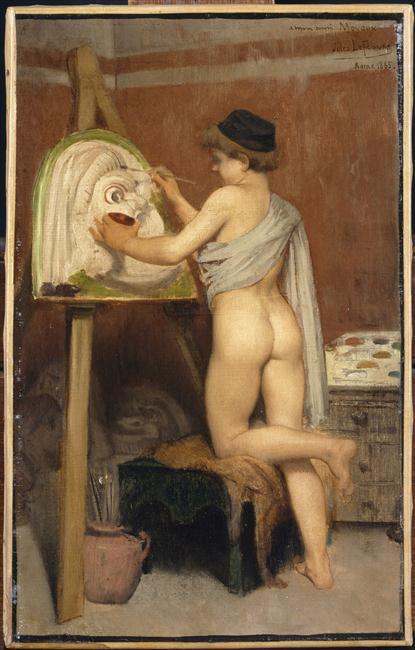 Lefebvre Jules Joseph 1865 jeune peintre peignant un masque de théâtre.jpg