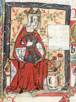 Miniature de la deuxième moitié du XIVe siècle dans le Liber benefactorum de l'abbaye de St Albans (British Library MS Cotton Nero D VII, f. 7).png