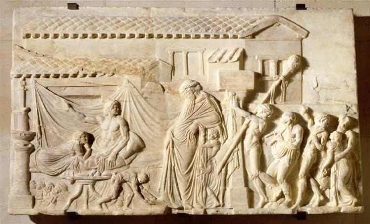 Relief votif figurant un poète dramatique recevant Dionysos et son cortège, réplique romain d'un prototype du 1er siècle av JC, Louvre.jpg