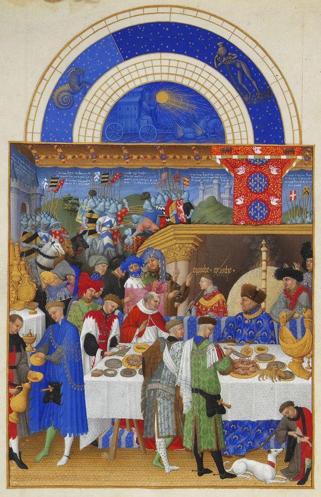 Très riches heures du duc de Berry, 1410, banquet.jpg