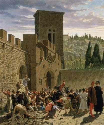 Borrani Odoardo, La découverte du cadavre de Jacopo Pazzi, 1864, Palais Pitti, Florence, RMN-Grand Palais Georges Tatge