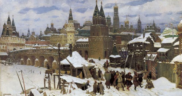 Appolinaire Vasnetsov, Vsehsvyatsky Kamenny bridge. Moscow at the end of 17th century, 1901.jpg