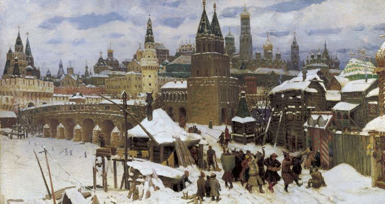 Appolinaire Vasnetsov, Vsehsvyatsky Kamenny bridge. Moscow at the end of 17th century, 1901.jpg