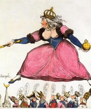 Caricature contre Catherine II de Russie, L'Enjambée impériale. Eau-forte coloriée, BnF
