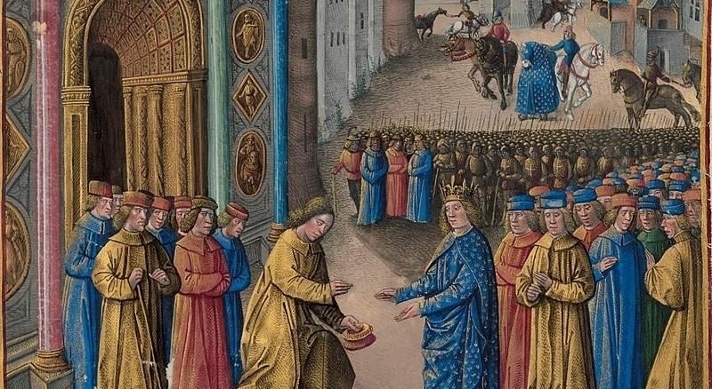 Raymond de Poitiers accueillant Louis VII à Antioche, d'après une enluminure de Jean Colombe pour Les Passages d'outremer de Sébastien Mamerot, vers 1473-1474. .jpg